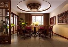 山语城三房一厅90㎡中式原木风格装修效果图