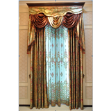 巴黎国际  定制正品欧式奢华烫金进口绒布花窗帘窗纱