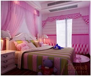 四季花城粉红色甜美风格女孩房装修效果图