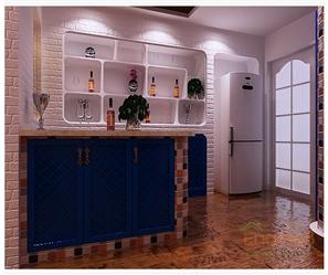 紫荆花园蓝元素过道厨房装修效果图