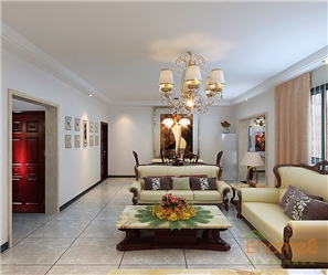 彩虹城跃层中式客厅效果图
