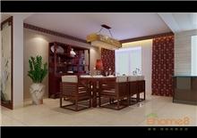 彩虹城东郡72平米中式餐厅客厅装修效果图