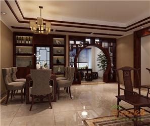 和谐家园108㎡三房一厅中式风格装修效果图