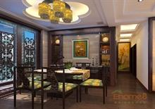 金色世纪93㎡三房一厅中式原木风格装修效果图
