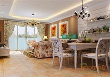 颐和家园111㎡三房一厅美式风格装修效果图