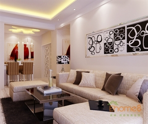 颐和家园41㎡小户型美式风格客厅装修效果图