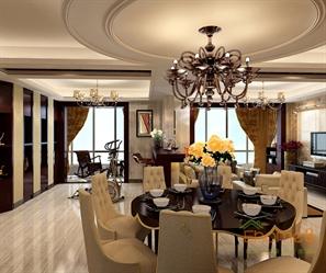 山语城158㎡四房两厅法式风格装修效果图