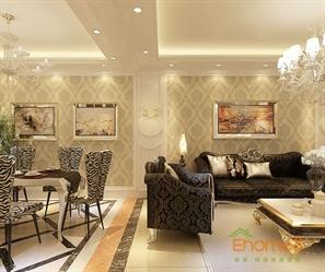 兆安现代城98㎡三房一厅欧式风格装修效果图