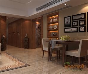 99㎡三房一厅中式优雅风格装修效果图