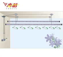恋晴 晾衣架升降手摇晾衣架 加厚加宽双杆式2.4米 简约紫