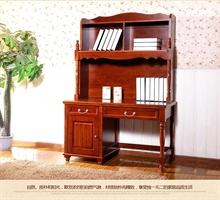 柏木之家   美式乡村全柏木书房家具书桌带书架组合