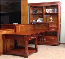柏木之家   纯实木转角电脑桌带书架书桌写字台组合书柜