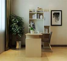 艾依格 时尚简约书橱转角写字台 L型书柜台式电脑桌组合