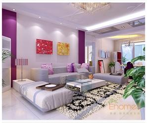 紫色美式风格客厅装修效果图