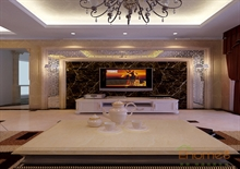 欧式客厅沙发电视墙装修图