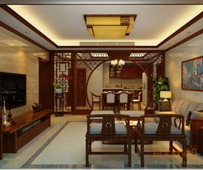 中式原木客厅设计效果图