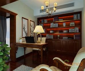中式原木书房效果图