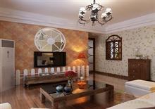 两房一厅田园风格客厅装修图