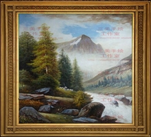 定制 三美油画纯手绘山水风景油画古典欧美式手工客厅风水装饰画