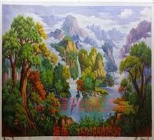 定制 三美高档纯手绘山水风景油画古典欧美式手工客厅风水装饰画