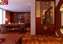 中式红木装修书房效果图